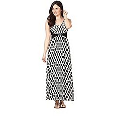 Principles Petite by Ben de Lisi - Petite designer black roof tile print jersey maxi dress
