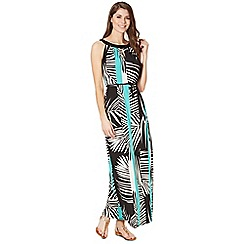Principles by Ben de Lisi - Dark green striped palm print maxi dress