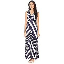 Principles Petite by Ben de Lisi - Designer navy striped maxi petite dress