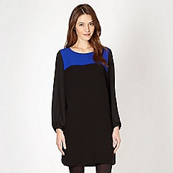 Principles Petite by Ben de Lisi - Petite designer black long sleeve chiffon dress