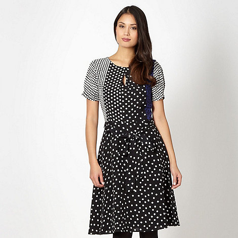 Principles by Ben de Lisi - Designer black mixed spot panel dress