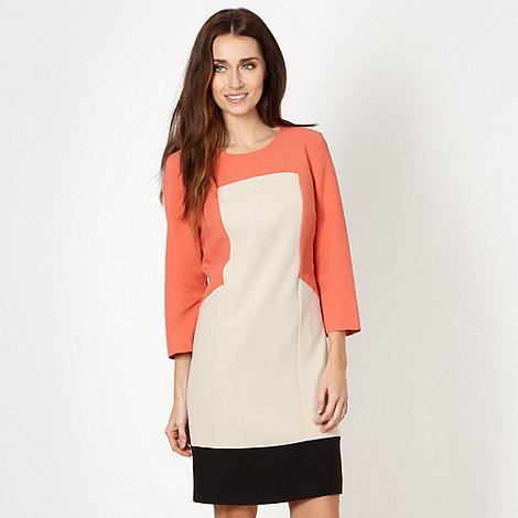 Principles by Ben de Lisi - Designer peach colour block shift dress