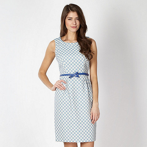 Principles by Ben de Lisi - Designer blue spotted belted dress