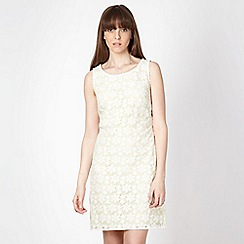 Principles Petite by Ben de Lisi - Petite designer light yellow lace shift dress