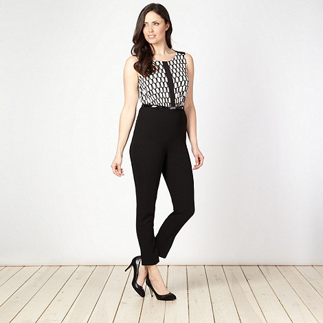 Principles by Ben de Lisi - Designer black roof tile print jumpsuit