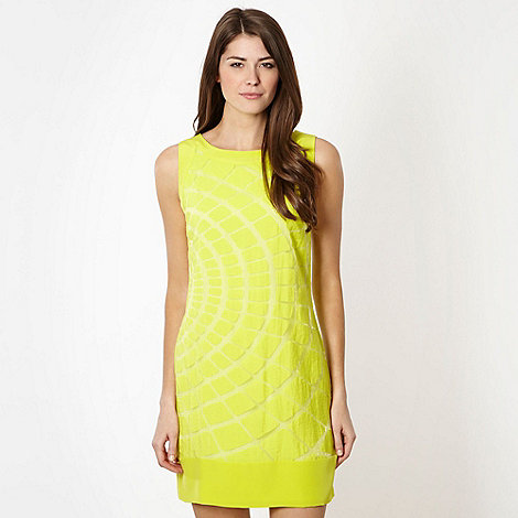 Principles by Ben de Lisi - Designer bright green burnout squares shift dress