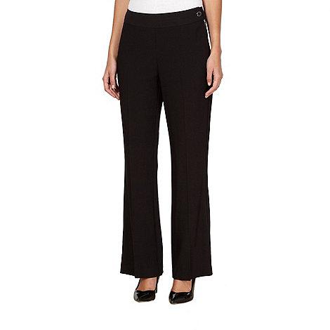 Principles Petite by Ben de Lisi - Petite designer black zipped bootleg trousers