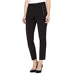Principles Petite by Ben de Lisi - Petite designer black tapered PU trim trousers
