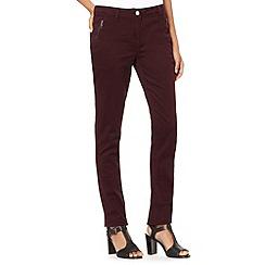 Principles Petite by Ben de Lisi - Petite designer wine zip pocket fine twill jeans