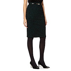 Principles Petite by Ben de Lisi - Petite designer dark green jacquard animal pencil skirt