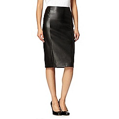 Principles by Ben de Lisi - Designer black faux leather zip skirt