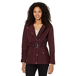 Principles by Ben de Lisi - Designer wine quilted faux fur trim jacket