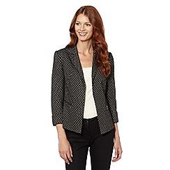Principles Petite by Ben de Lisi - Petite designer black floral zip pocket blazer