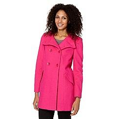 Principles by Ben de Lisi - Designer bright pink A-line boucle coat