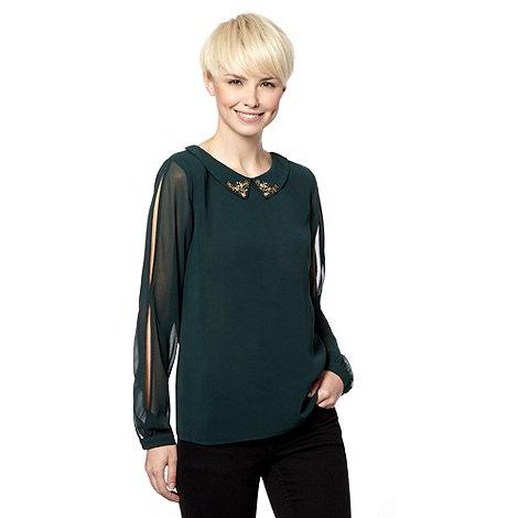 Principles Petite by Ben de Lisi - Petite designer dark green embellished collar top