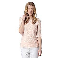 Principles Petite by Ben de Lisi - Petite designer pale peach jacquard floral zip top