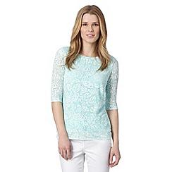 Principles by Ben de Lisi - Designer turquoise jacquard floral zip top