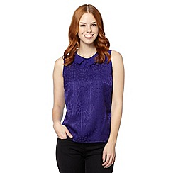 Principles Petite by Ben de Lisi - Petite designer purple peter pan mosaic top