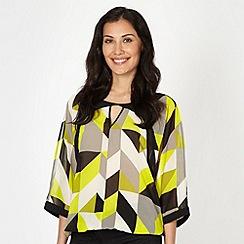 Principles Petite by Ben de Lisi - Petite designer bright green giant geometric print blouse