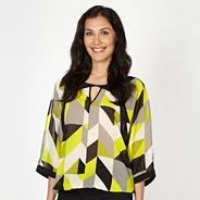 Designer bright green giant geometric print blouse