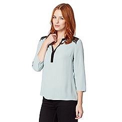 Principles by Ben de Lisi - Designer pale green lace shoulder blouse