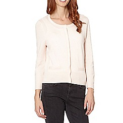 Principles by Ben de Lisi - Designer light pink knitted crop cardigan