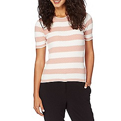 Principles by Ben de Lisi - Designer light pink striped honeycomb knit jumper