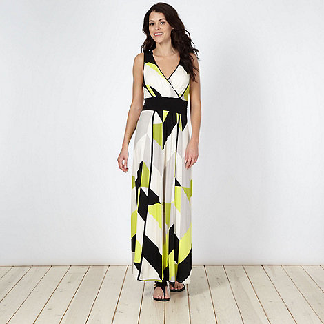 Principles by Ben de Lisi - Designer bright green geometric jersey maxi dress