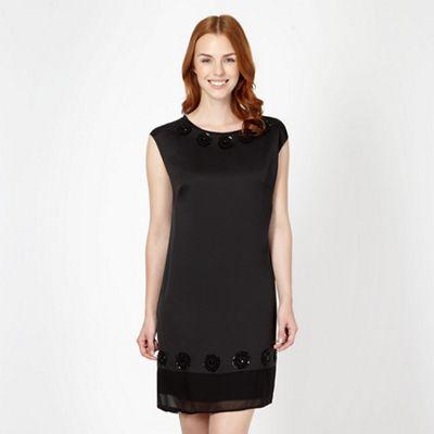 Designer black beaded rosette trim dress