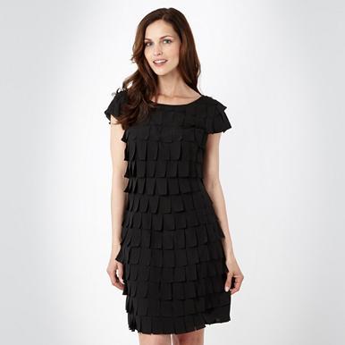 Designer-Cocktail-Kleid im Römer-Stil, schwarz