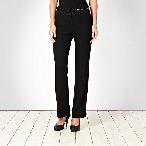 Principles by Ben de Lisi - Black grosgrain trim belted trousers