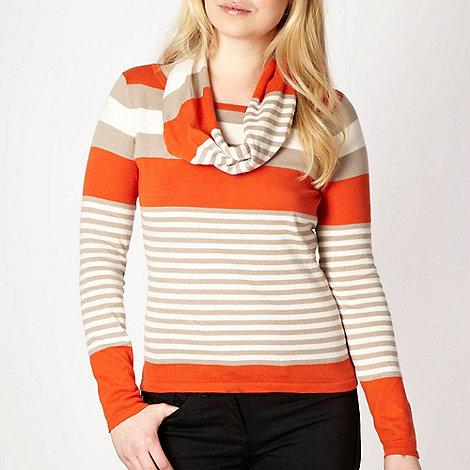 Principles by Ben de Lisi - Dark orange striped snood jumper
