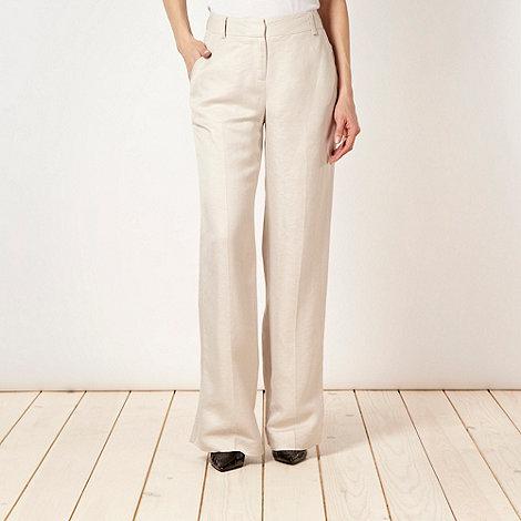 Principles Petite by Ben de Lisi - Petite designer beige linen trousers
