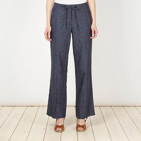Principles Petite by Ben de Lisi - Petite blue linen blend casual trousers