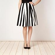 Petite black and white striped skirt