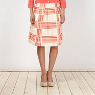 Designer coral crosshatch pleated skirt