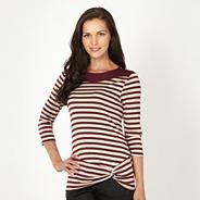 Petite wine twist striped top