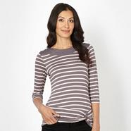 Designer grey striped twist front top