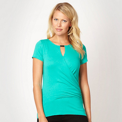 Principles by Ben de Lisi - Designer bright green notched wrap jersey top