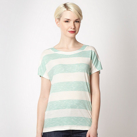 Principles by Ben de Lisi - Designer light green striped button shoulder t-shirt