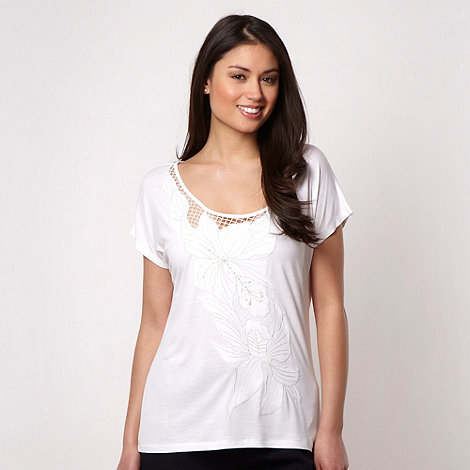 Principles by Ben de Lisi - Designer white sequin flower top