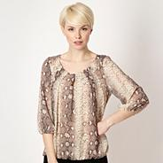 Petite designer natural snakeskin patterned top