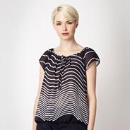 Designer navy striped chiffon top