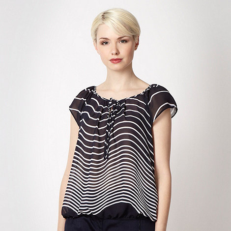 Principles by Ben de Lisi - Designer navy striped chiffon top