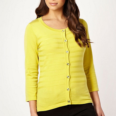 Principles Petite by Ben de Lisi - Petite designer lime self striped cardigan