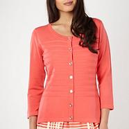 Designer coral textured striped cardigan