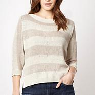 Designer natural wide striped jumper