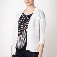 Designer white wide striped cardigan