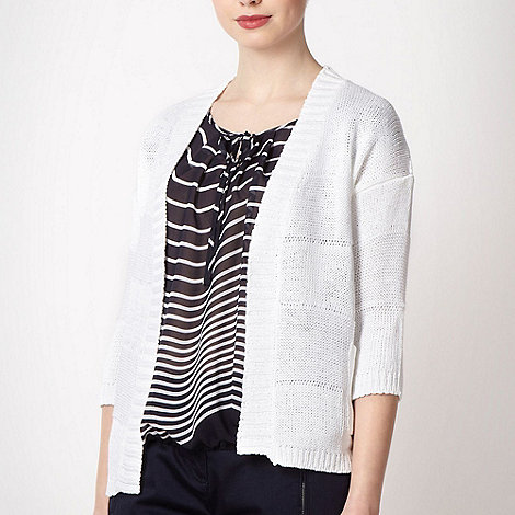 Principles by Ben de Lisi - Designer white wide striped cardigan