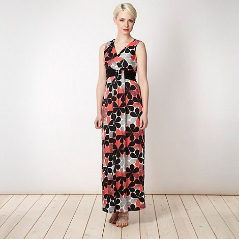 Principles Petite by Ben de Lisi - Petite designer coral graduated flower maxi dress